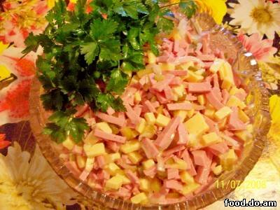 Салаты с колбасой рецепты